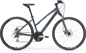 Гибридный велосипед Merida Crossway 20-MD Lady Matt Anthracite (dark grey/sky blue) (2015)