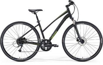 Гибридный велосипед Merida Crossway 300 Lady Matt Black (dark grey/lime) (2015)