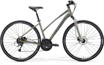Гибридный велосипед Merida Crossway 300 Lady Matt Titaniom (dark grey/blue) (2015)