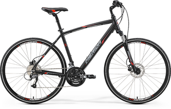 Гибридный велосипед Merida Crossway 40-D Matt Black (red/grey) (2017)